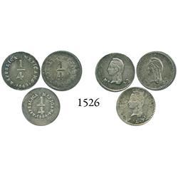 Lot of 3 Mexico 1/4 reales: 1842MoLR, 1843MoLR and 1844SLPi.