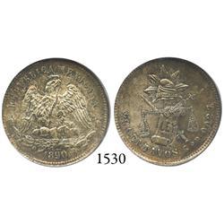 Guanajuato, Mexico, 25 centavos, 1890R, encapsulated NGC MS-65.