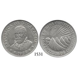 Nicaragua, 50 centavos, 1929, encapsulated NGC AU-58.