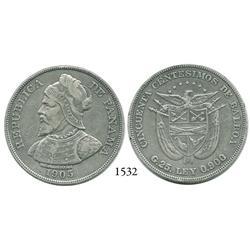 Panama City, Panama, 50 centésimos de Balboa, 1905.