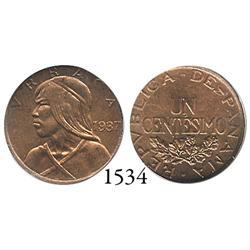 Panama City, Panama, copper 1 centésimo, 1937, encapsulated NGC MS-64 Red Brown.