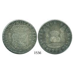 Lima, Peru, pillar 4 reales, Charles III, 1772JM.