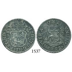Lima, Peru, pillar 2 reales, Ferdinand VI, 1752/1J, very rare.