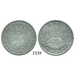 Lima, Peru, pillar 2 reales, Ferdinand VI, 1757/6/5JM, unlisted multiple overdate.