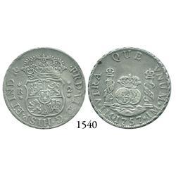Lima, Peru, pillar 2 reales, Ferdinand VI, 1757/6JM.