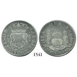 Lima, Peru, pillar 2 reales, Charles III, 1766/5JM, rare overdate.