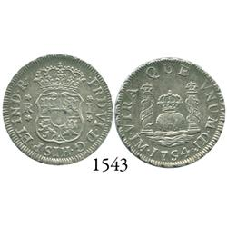 Lima, Peru, pillar 1 real, Ferdinand VI, 1754JD.