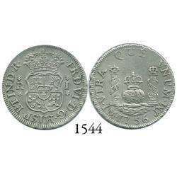Lima, Peru, pillar 1 real, Ferdinand VI, 1756JM.