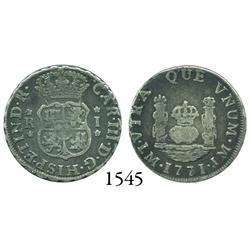 Lima, Peru, pillar 1 real, Charles III, 1771JM.