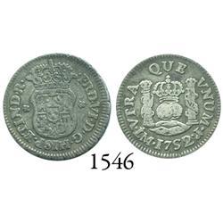 Lima, Peru, pillar 1/2 real, Ferdinand VI, 1752/1J, very rare.
