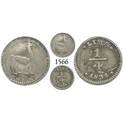 Lima, Peru, 1/4 real, 1834.