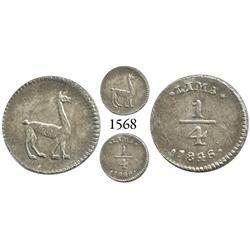 Lima, Peru, 1/4 real, 1846/36.