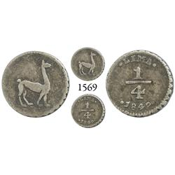 Lima, Peru, 1/4 real, 1849.