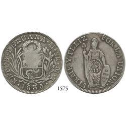 Philippines (under Spain), peso, Isabel II countermark Y•II• on Lima, Peru (Republic), 8 reales, 183