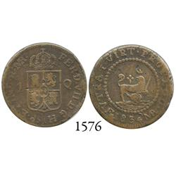 Manila, Philippines, copper quarto, Isabel II, 1834MA-F.