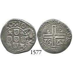 Portugal, 1/2 tostão, João IV, 1641, rare.