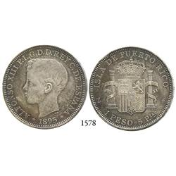 Puerto Rico (under Spain), peso, Alfonso XIII, 1895.
