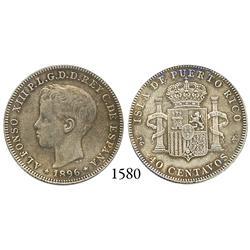 Puerto Rico (under Spain), 40 centavos, Alfonso XIII, 1896.