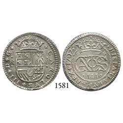 "Barcelona, Spain, milled 2 reales ""pistareen,"" Charles III Pretender, 1707."