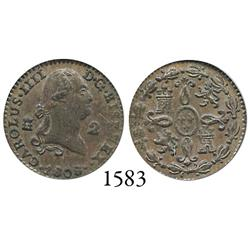 Segovia, Spain, copper 2 maravedís, Charles IV, 1808, encapsulated PCGS MS-63BN.