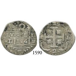 "Caracas, Venezuela, ""imitation cob"" 2 reales, ""184"" date, M-L, rare."