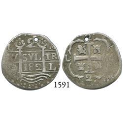 Caracas, Venezuela,  imitation cob  2 reales,  182  date, L-M.