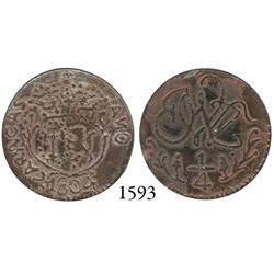Caracas, Venezuela, copper 1/4 real, 1804, useful counterfeit of key date.