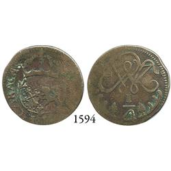 Caracas, Venezuela, copper 1/4 real, 1813, very rare.