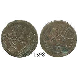 Caracas, Venezuela, copper 1/4 real, 1821, rare variety.