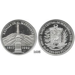 Venezuela, 500 bolivares, 1992, low mintage.