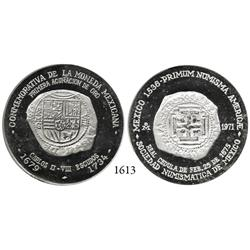 Sociedad Numismática de Mexico, silver medal, 1971, with pictures of Mexican cobs on both sides.