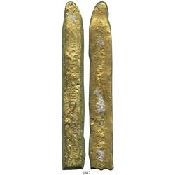 "Gold cut ""finger"" bar #23 from the ""Golden Fleece wreck"" (ca. 1550), 537 grams, marked three times w"