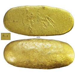 "Gold ""half potato"" ingot from the 1715 Fleet, marked ""4o3"", 59.32 troy oz, estimated fineness 20K."