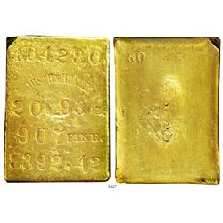 Justh & Hunter gold ingot #4280 from the S.S. Central America (1857), 20.93 oz, 90.7% fine, with spe
