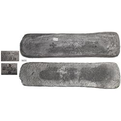 "Silver ""tumbaga"" bar #M-92 from the ""Tumbaga wreck"" (ca. 1528), 8.07 lb."