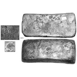 "Silver ""tumbaga"" bar #M-51 from the ""Tumbaga wreck"" (ca. 1528), 5.23 lb."