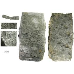 """Cut silver """"tumbaga style"""" ingot #6 from the """"Golden Fleece wreck"""" (ca. 1550), 2495 grams, with ille"""