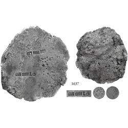 "Well-marked silver ""splash"" ingot #AG from the ""Golden Fleece wreck"" (ca. 1550), fineness 23.6/24, 1"