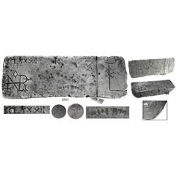 Large silver bar from the Atocha (1622), 87 lb 6.88 oz troy, Class Factor 0.9.