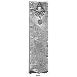 Neatly formed silver bar from the Rooswijk (1739), 1967 grams (63.25 oz. troy), marked with A (Amste