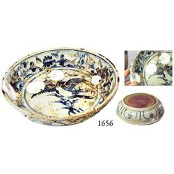 Uncleaned, Annamese blue-on-white porcelain bowl with bird motif.