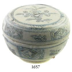 Large, Annamese blue-on-white lidded porcelain powder-box.