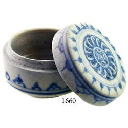 Small, Annamese blue-on-white lidded porcelain powder-box.