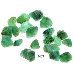 Lot of 20 large, Grade-1 quality natural emeralds, 23.0 carats total.
