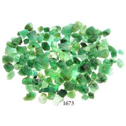 Lot of over 100 small, Grade-1 quality natural emeralds, 27.5 carats total.