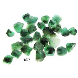 Lot of 28 medium-sized, Grade-2 quality natural emeralds, 25.0 carats total.