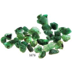 Lot of dozens of small, Grade-2 quality natural emeralds, 10.0 carats total.