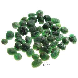 Lot of dozens of large,Grade-3 quality natural emeralds, 66.5 carats total.