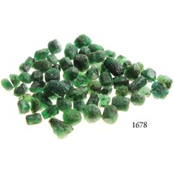 Lot of dozens of medium to large, Grade-3 quality natural emeralds, 40.5 carats total.