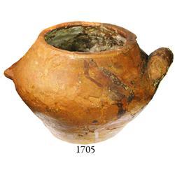 Handled earthenware pot.